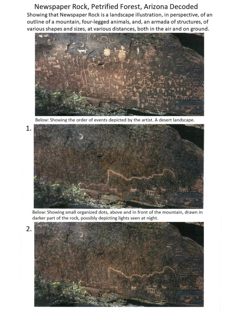 Newspaper Rock, Arizona Depicts Ancient Spaceship Armada Landing Near Signal Hill In Southern Arizona